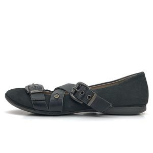 OTBT Leather Steampunk Buckle Cross-Strap Flats